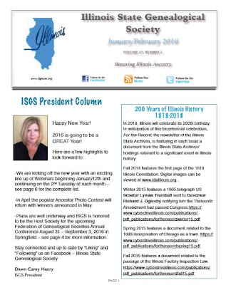 Illinois State Genealogical Society January/February 2016 Newsletter