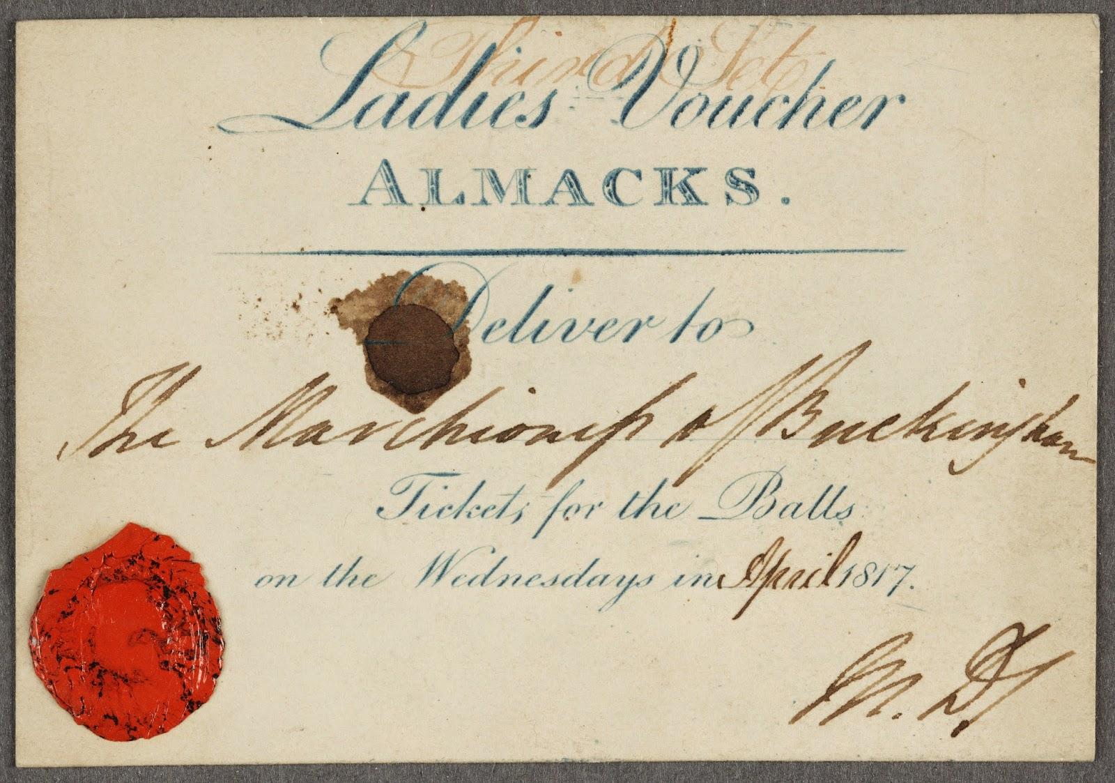 Regency History  A Genuine Almack U0026 39 S Voucher
