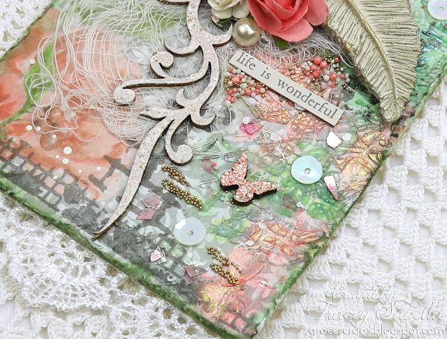 Mixed Media Tag by Tracey Sabella for Scrap & Craft: #mixedmedia #mixedmediatag #shabbychic #gifttag #papercrafting #chipboard #studio75 #lindysgang #lindysstampgang #Finnabair #Primamarketing #agateria #Foamiran #Foamiranflowers #handmadeflowers #handcraftedflowers #timholtz #rangerink #dustyattic #usartquestprills #helmar
