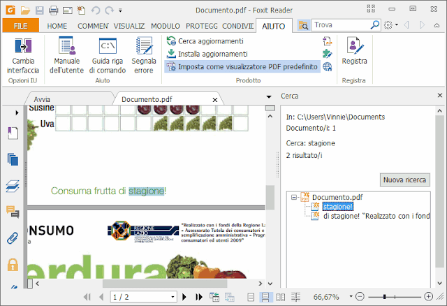Foxit Reader risultati ricerca PDF per parola chiave