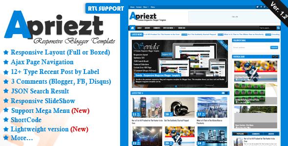 Apriezt Responsive Premium Blogger Template free