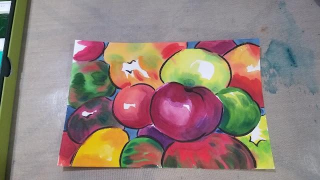 Heirloom tomatoes, etegami, etegami postcard, watercolor illlustration
