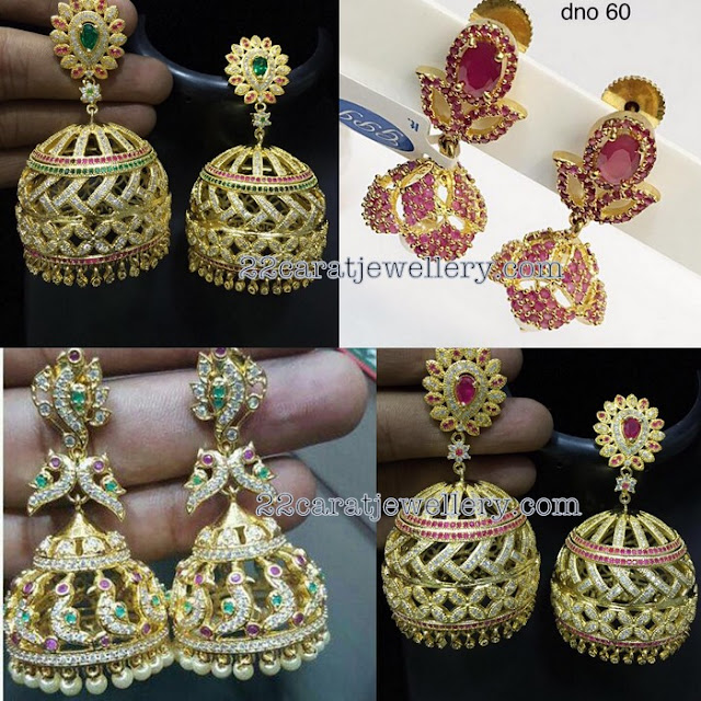 Heavy Jhumkas Screw Back Pattern
