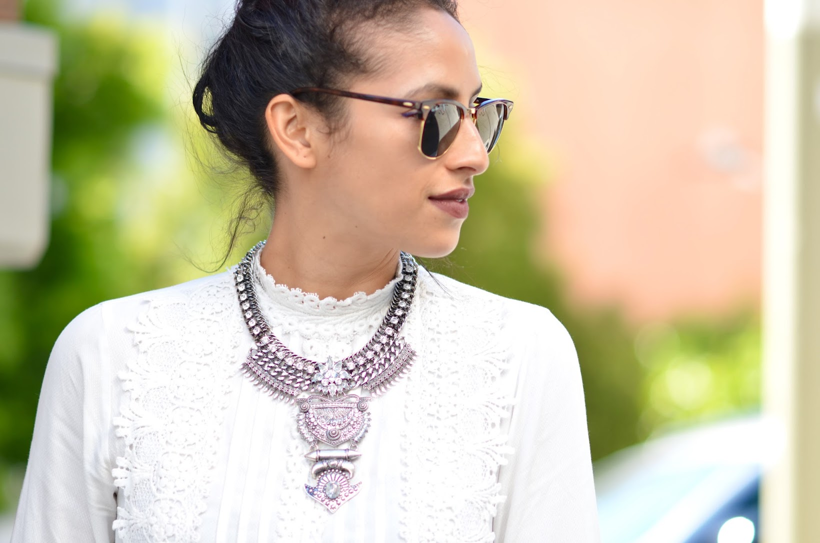Bauble Bar Amazon necklace, Bare Minerals matte lipstick, Kylie lip kit, ray ban clubmasters, Zara victorian lace blouse, Fall style, summer style, SF style blogger