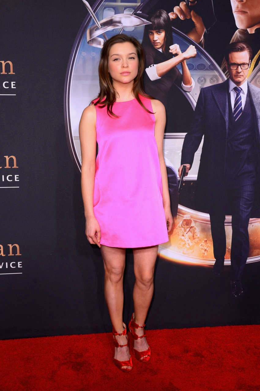 Sophie Cookson in a pink mini dress at the 'Kingsman: The Secret Service' NYC premiere