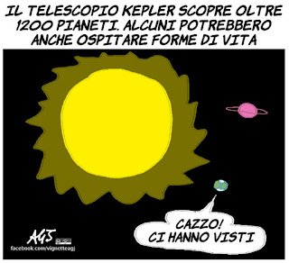 kepler, pianeti abitabili, vita nell'universo, scienza, umorismo, vignetta