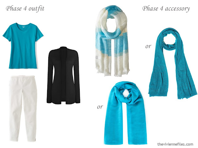 how to accessorize a capsule wardrobe in a Turquoise, Coral, Black and Ivory color palette - Scarves