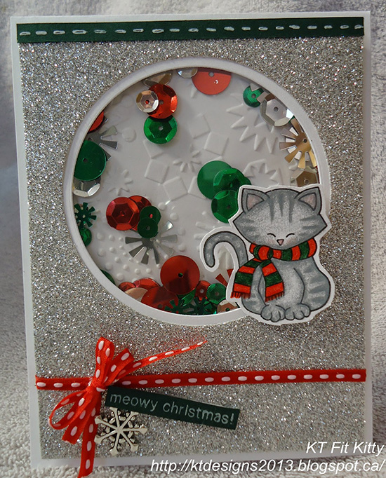 Meowy Christmas card by KT Fit Kitty using Newton's Nook Designs Stamps