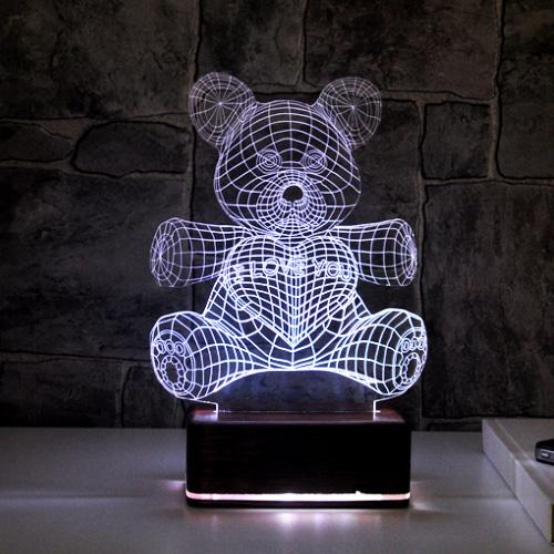 3D Sevimli ve Romantik Ayıcık Lamba