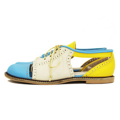 Tinuku Pink Locomote studio design Brogues Flat shoes series young vibrant colors and expose pieces stitches