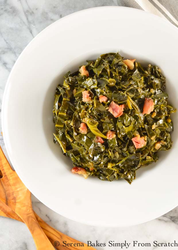 Collard Green with ham hock are a southern style favorite recipe from Serena Bakes Simply From Scratch.