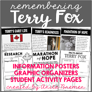 Celebrating the Canadian Hero Terry Fox! This teaching resource includes information and activities that will help students learn about Terry Fox and the Marathon of Hope. It includes information charts, a timeline of events, pictures, graphic organizers, and worksheets. Grades 1-3 #socialstudies #Canada #terryfox #marathonofhope #grade1 #grade2 #grade3 #1stgrade #2ndgrade #3rdgrade