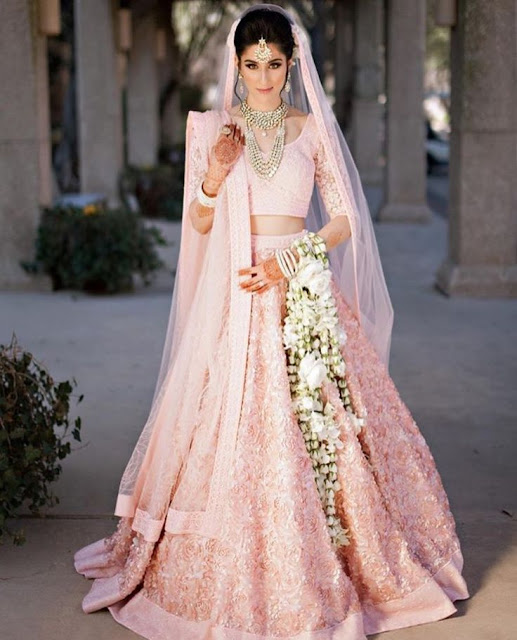 Baby Pink Lehenga For A Bride