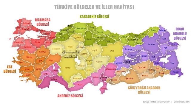 Bölge isimleriyle birlikte renkli Türkiye Bölgeler ve İller Haritası