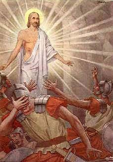 Dibujo de Jesús resucitado frente a soldados