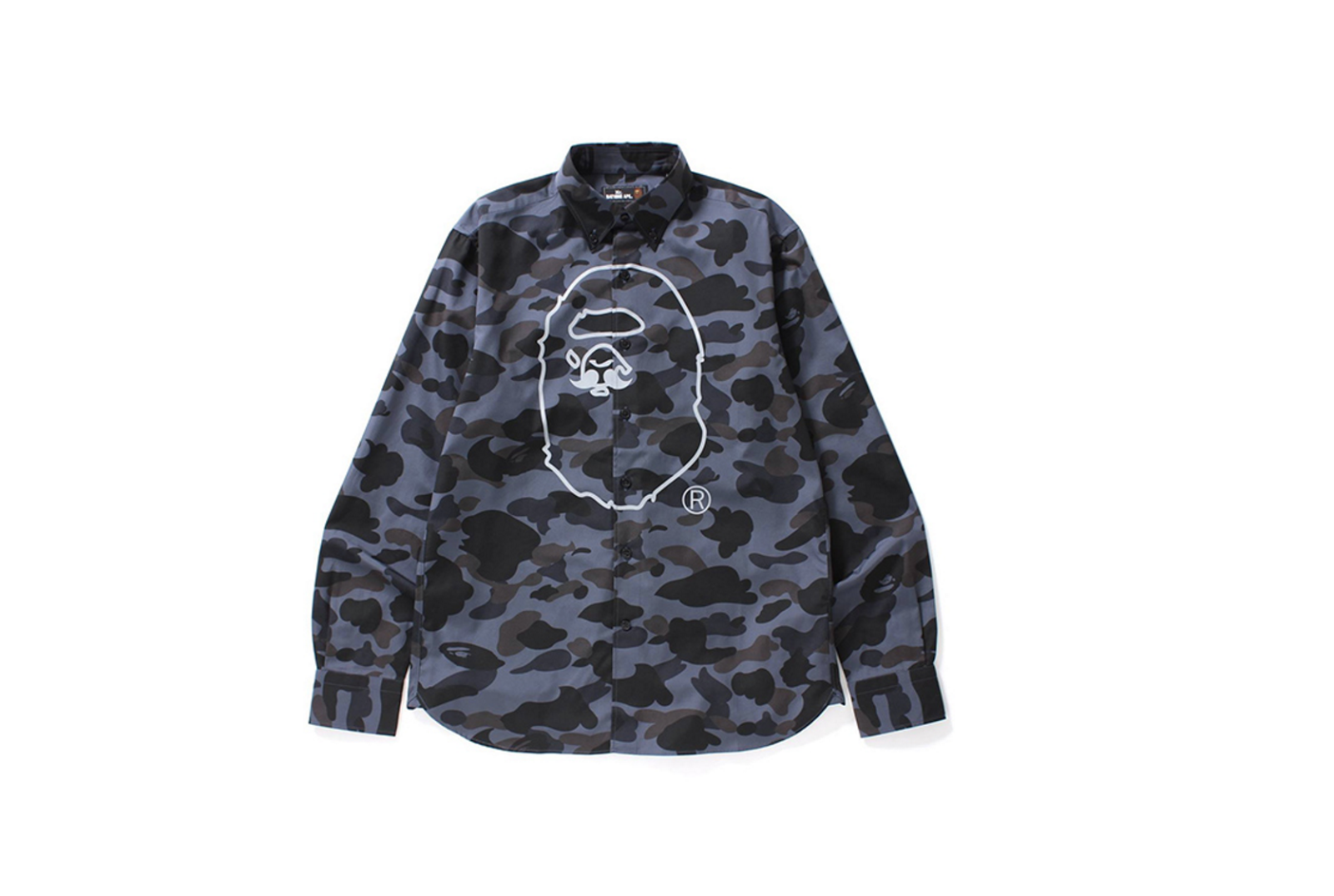 15cd8c89 Camo button down shirts, sharp graphic tee's and sweats, and minimalist  hats, all with the BAPE head, each adding the Mr. BATHING APE moustache.