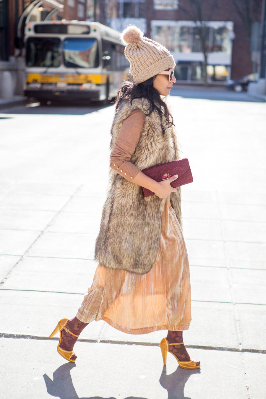 winter style, petite fashion, winter fashion, nordstrom, velvet, clutches, faux fur, midi skirt, camel, luxe fabric, affordable style
