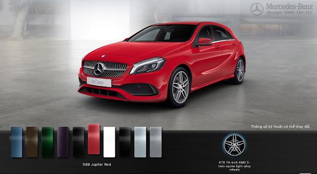 Mercedes A250 2018 màu Đỏ