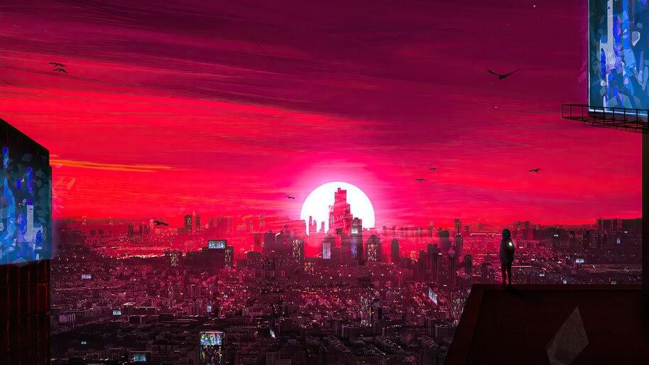 Red City, Sunset, Scenery, 4K, #6.2188