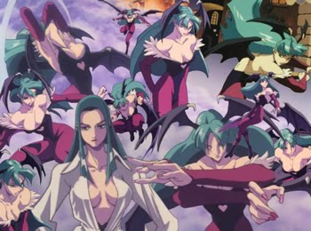 Collage of Morrigan Aensland from Darkstalkers, Vampire Hunter anime