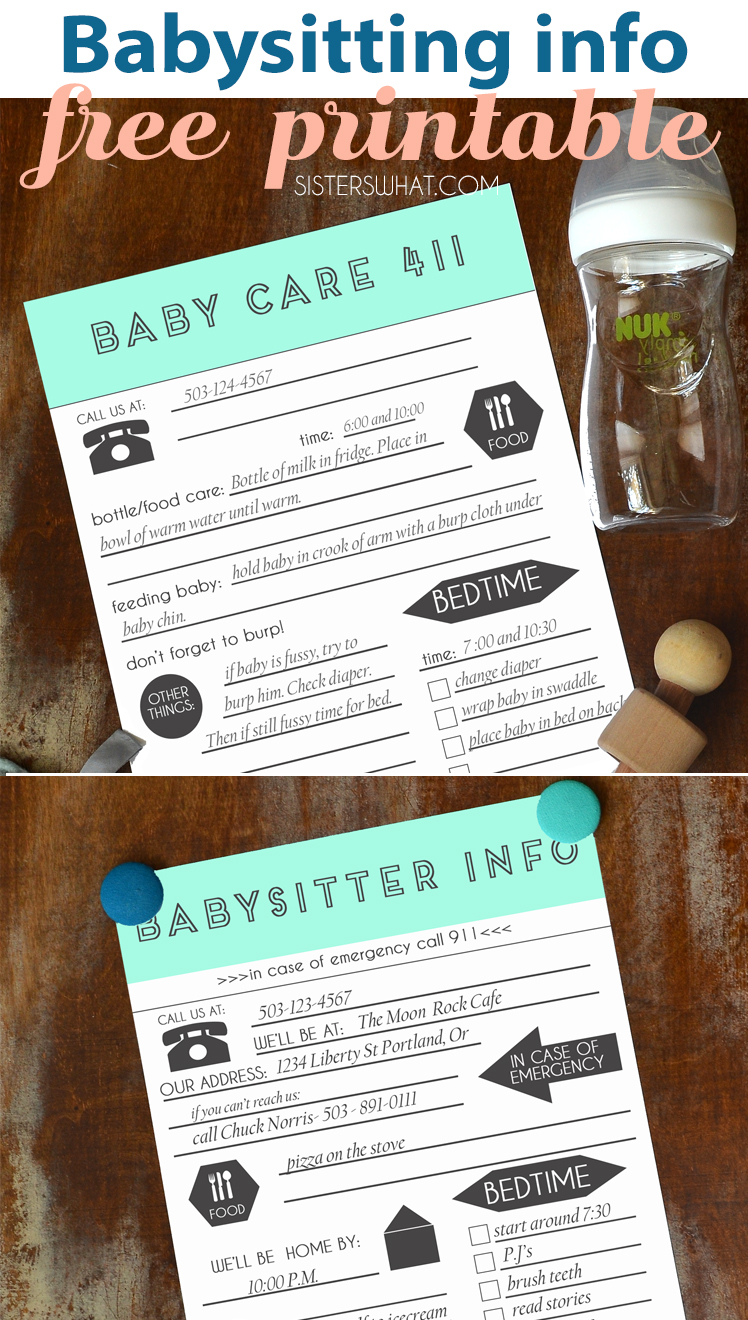 Free babysitting printables for date night