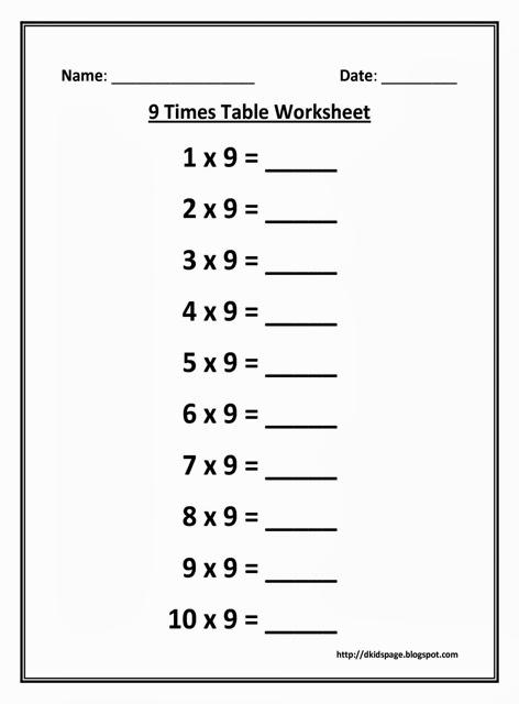 Kids Page: 9 Times Multiplication Table Worksheet