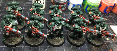 Dark Angels Hellblasters WIP first armor highlights