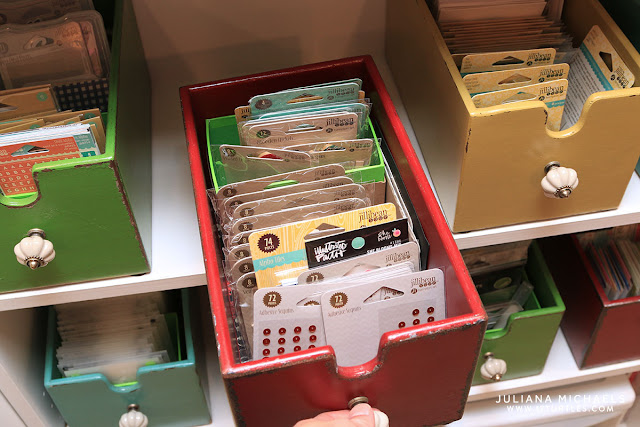 Scrapbook and card making storage ideas - Juliana Michaels of 17turtles shares her creative space and craft supply storage