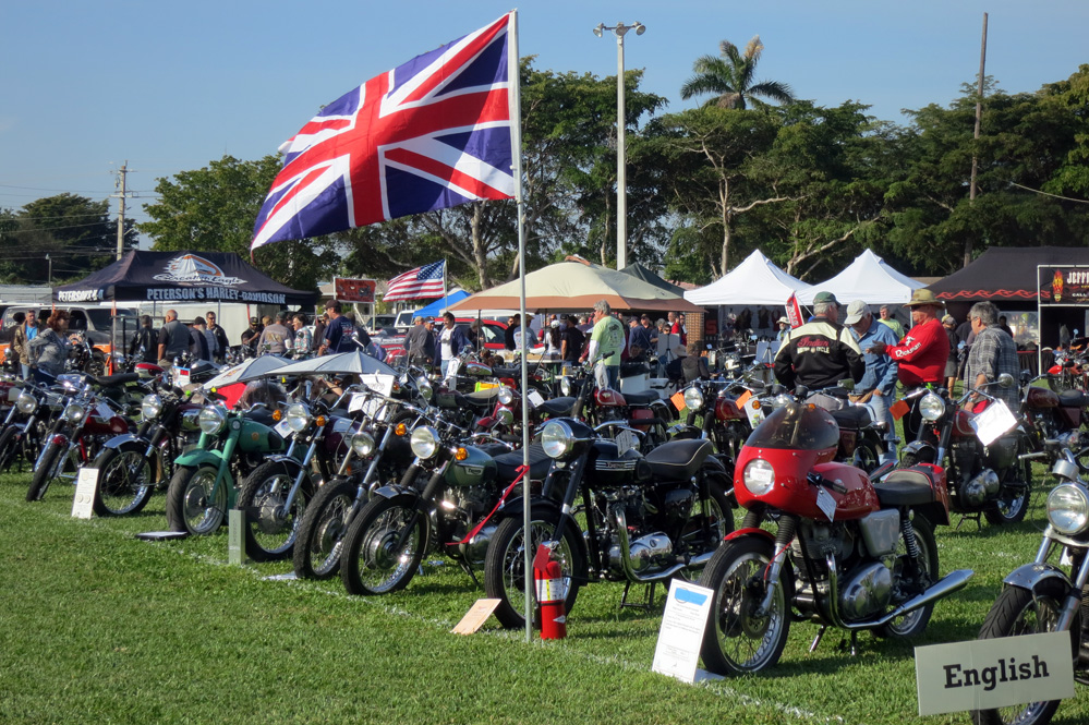 British motorcycles on display.
