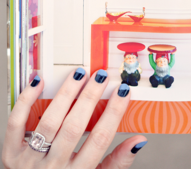 nails, messy french tip manicure, rings, jonathan adler book