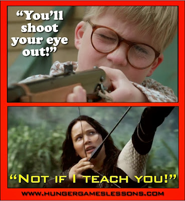 Who needs a Red Ryder BB gun when you can shoot a bow & arrow? Click for more funny memes on www.hungergameslessons.com