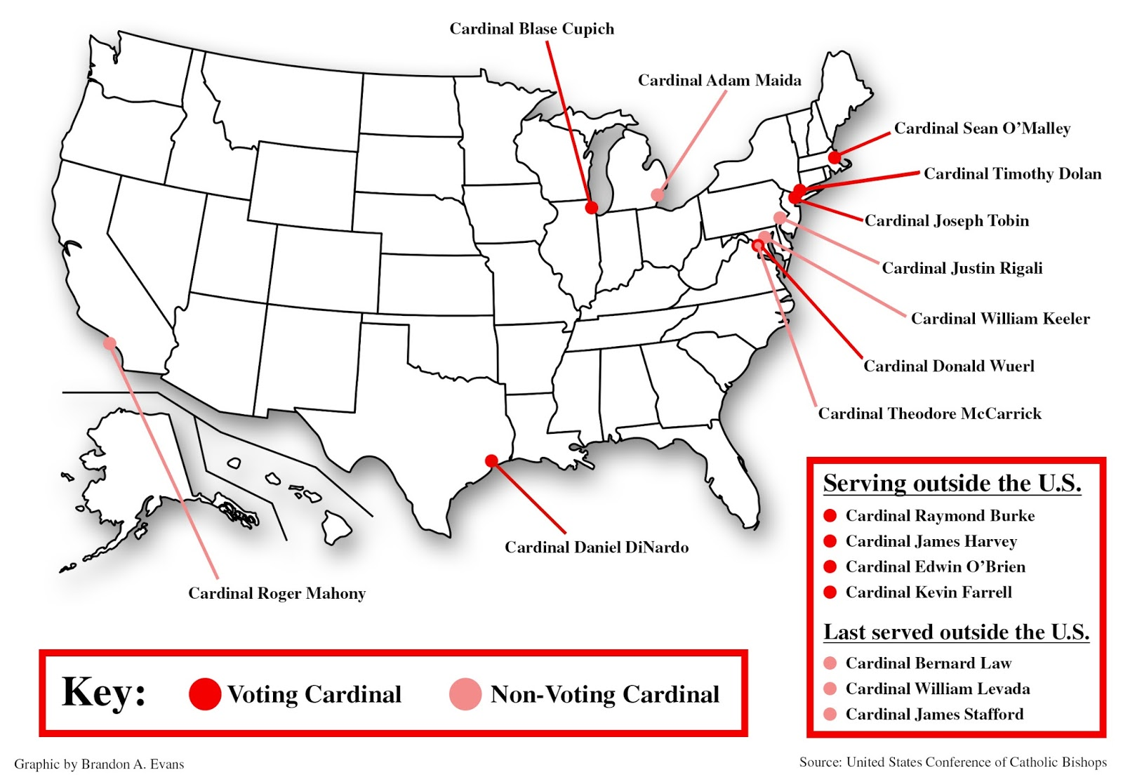 below is a map we ve created at the criterion that shows the current u s cardinals both active and retired click on it to see a larger version