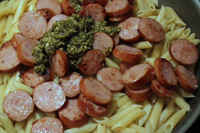 Get dinner on the table in minutes with this easy Pesto Penne with Polska Kielbasa one-pot meal!
