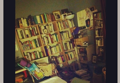 a whole bunch of books on the book shelf