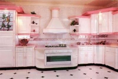 Cocina en blanco y rosa