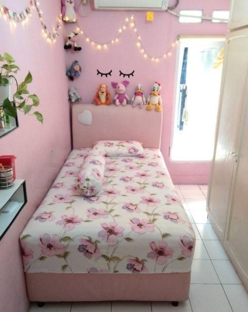 Denah ruang tidur mini tipe60 3 dimensi tampak dari depan