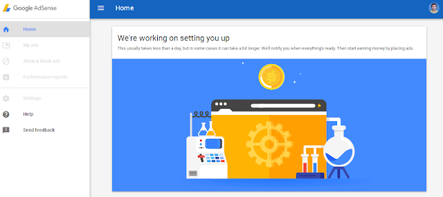Google Adsense Notification : We're Working On Setting You Up