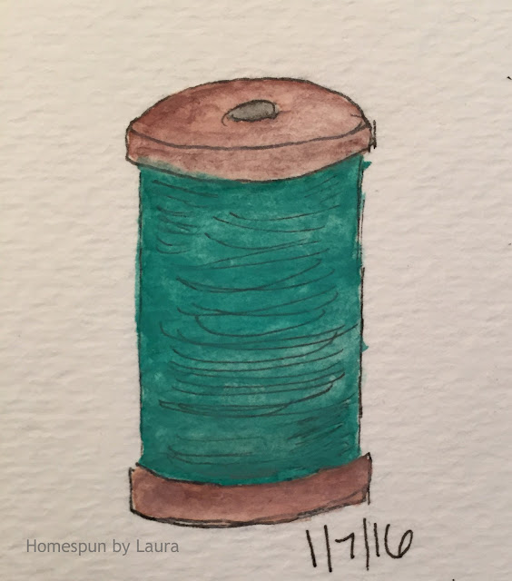 homespun by laura daily doodle thread spool watercolor drawing