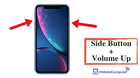 Take Screenshot on iPhone XR with volume up and  side buttons