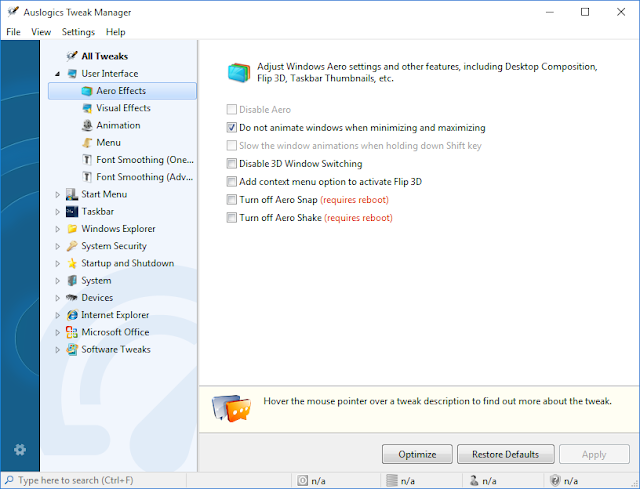 Tweak Manager Interface  Auslogics Boost Speed 8