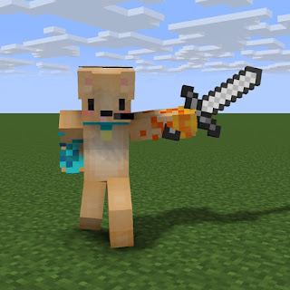 A Minecraft character with a sword, part of the game which helps autistic Anthony develop his conceptual thinking.