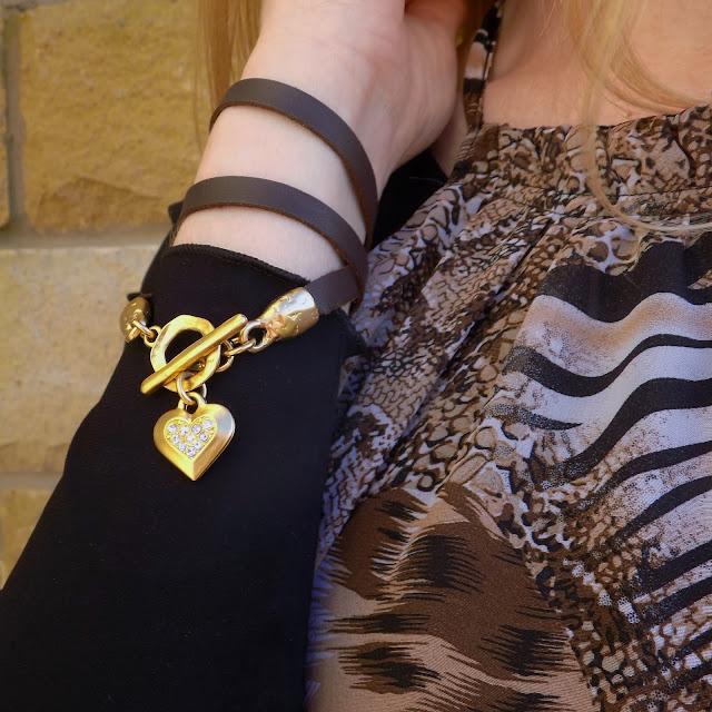wrap bracelet with gold swarovski crystal heart https://www.whatlizzyloves.com/shop/ Danon jewellery leather