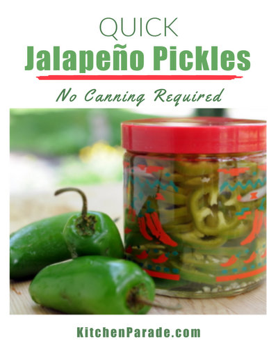 Quick Jalapeño Pickles ♥ KitchenParade.com, easy homemade refrigerator pickles, no canning required. Great for Mexican Meal Prep.