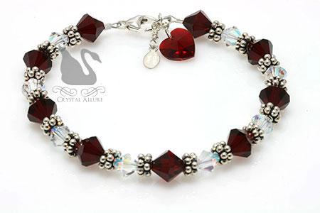 Sacred Red Heart Crystal Charm Bracelet (B018-D2)