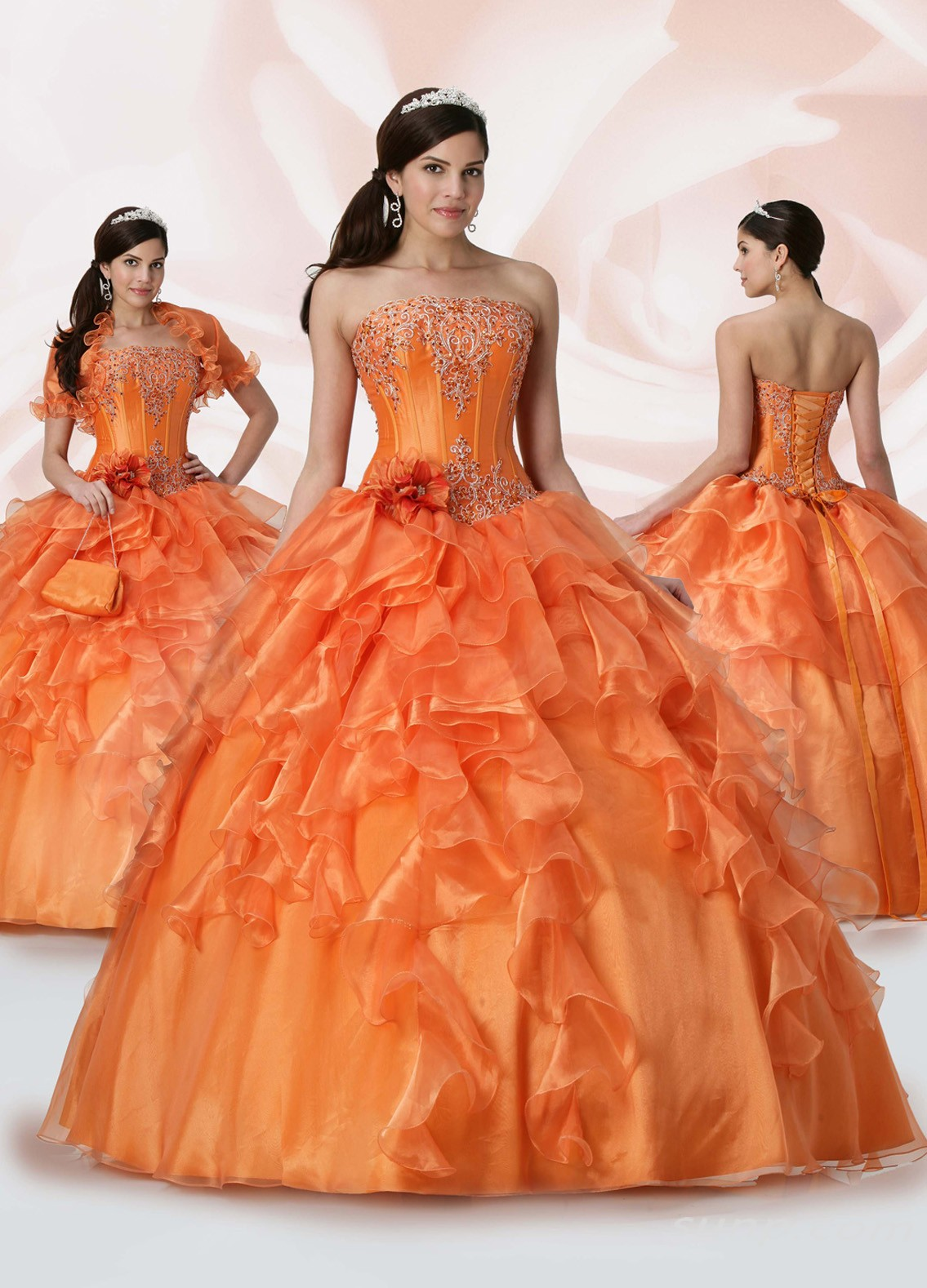 Orange Quinceanera Dress Very Cute 15 Dresses