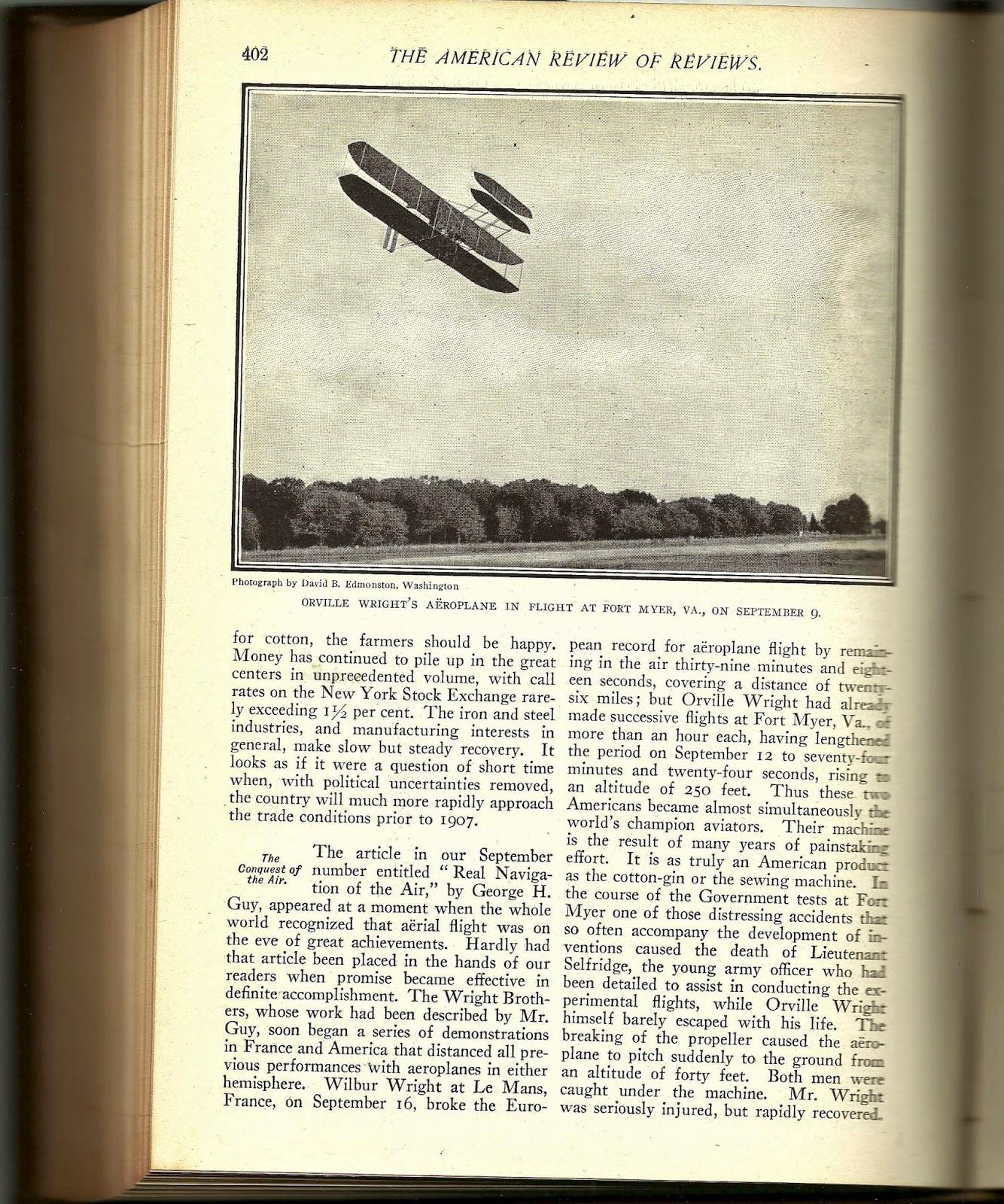 Fort Myer, Va Orville Wright accident
