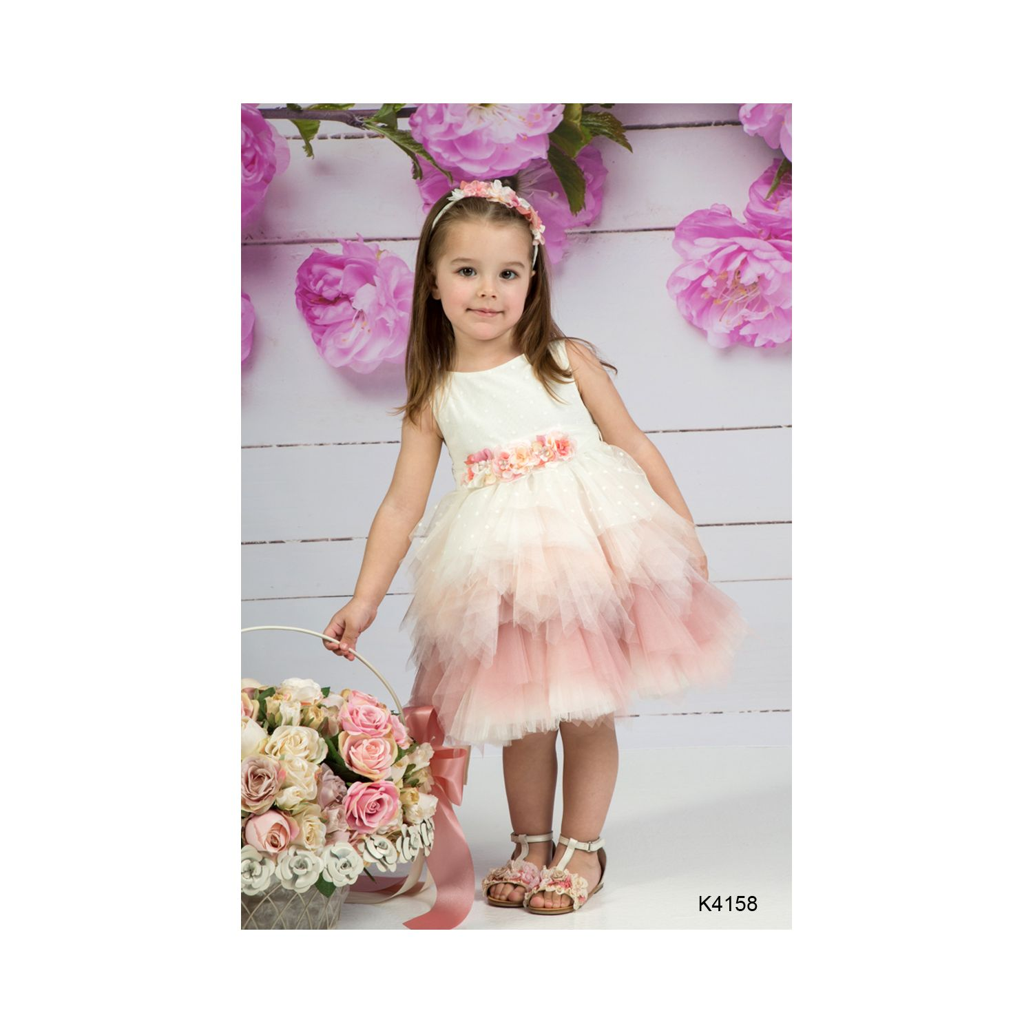 Romantic Christening dress made in Greece K4158