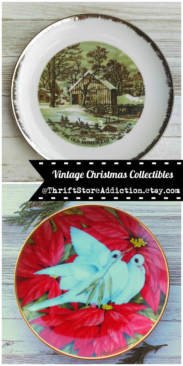 vintage collectible Christmas plates
