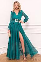 Rochie de ocazie lunga verde din voal cu decolteu