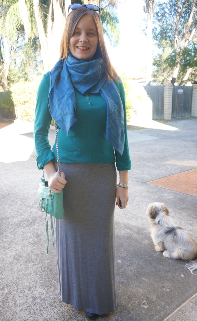 Blue Alexander McQueen skull scarf, teal henley, grey maxi skirt ankle boots | Away From Blue Blog
